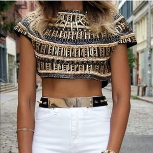 Zara limited beaded embroidered crop top